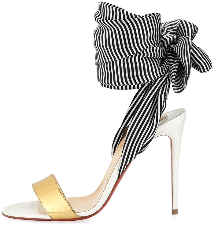 Christian Louboutin striped fabric sandals with metallic and smooth leather trim