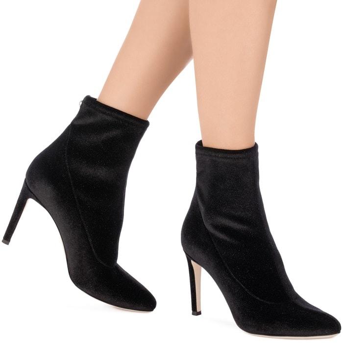 Black Glitter Velvet Stretch Fabric 'Celeste' Boots