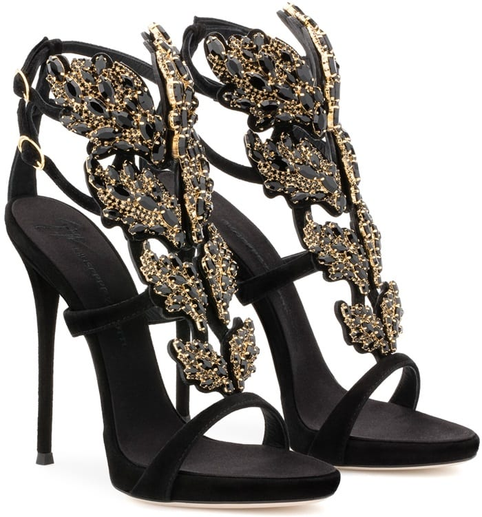Black suede Cruel sandal with crystals