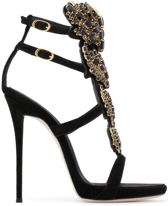 Crystal-Embellished Cruel Mirrored Leather Heels