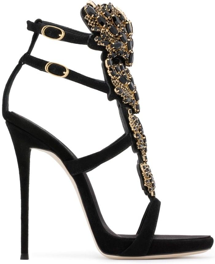 Crystal-Embellished Cruel Mirrored Leather Heels