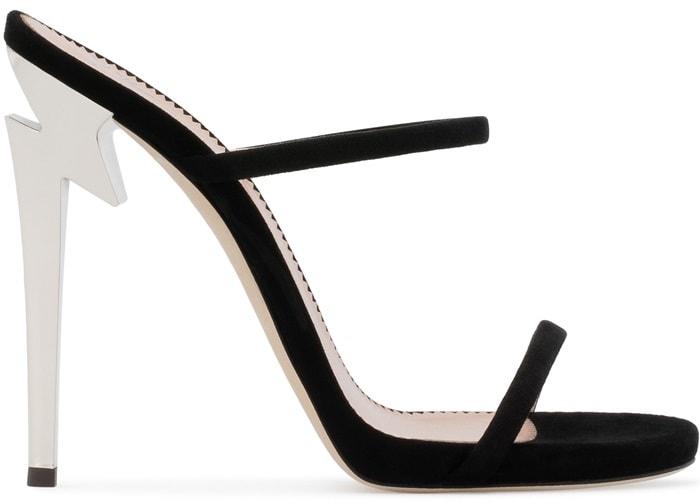 Black suede 'G Heel' mule with sculpted heel