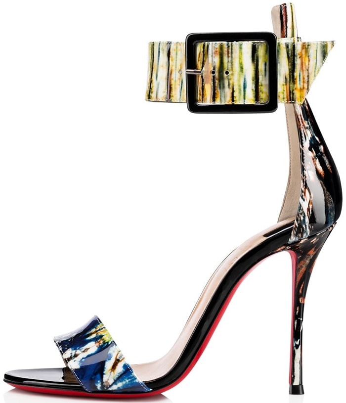 This 100mm sandal in West African inspired bazin print patent leather is a statement piece with a minimalist edge