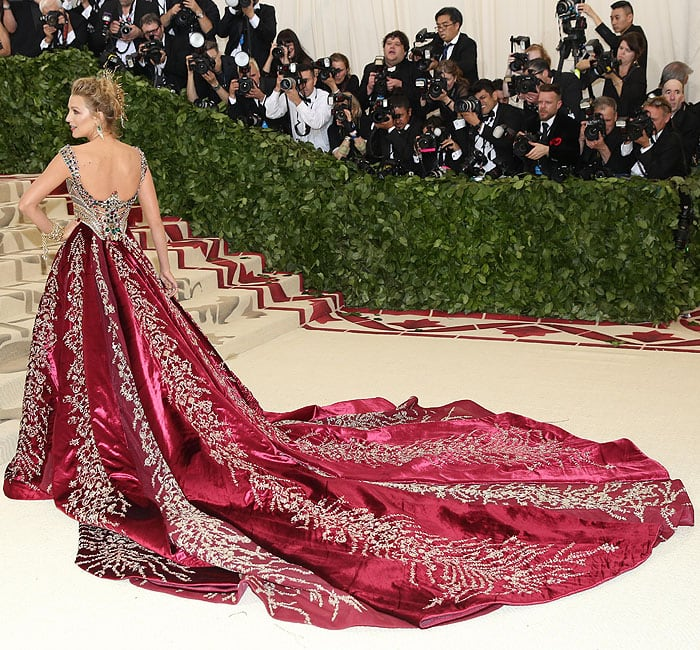 Back view of Blake Lively's Atelier Versace Meta Gala gown with an embroidered train.