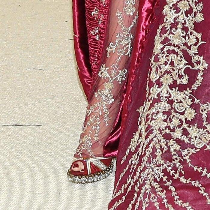 Details of the custom Louboutin embellished-platform peep-toe sandals on Blake Lively.
