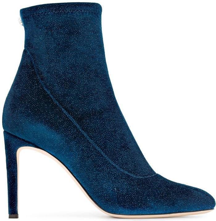 Blue Glitter Velvet Stretch Fabric 'Celeste' Boots