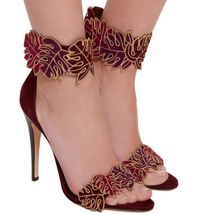 Wine Suede 'Katari' Ankle Sandals