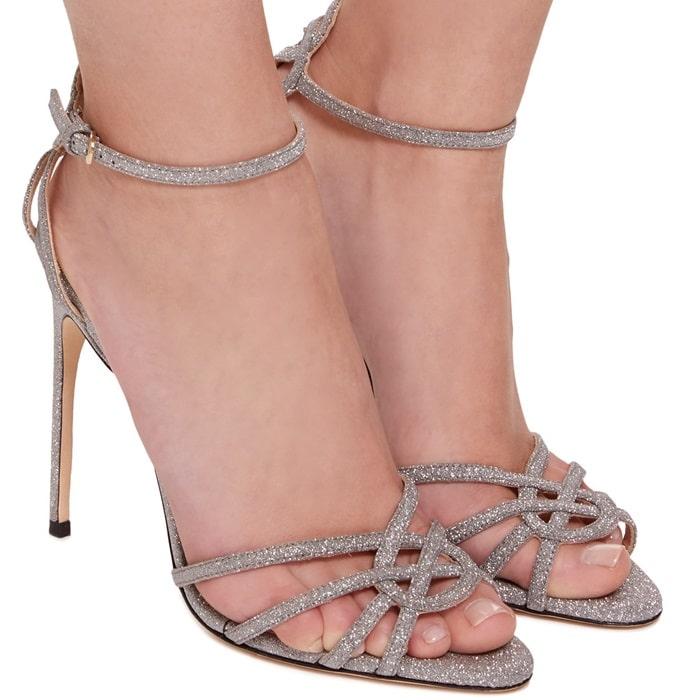 Silver Nappa 'Cassia' Strap Sandals