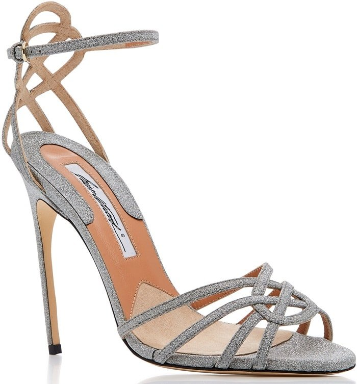 This silver nappa sandal is rendered in nappa leather and features a strappy detail and metallic finish