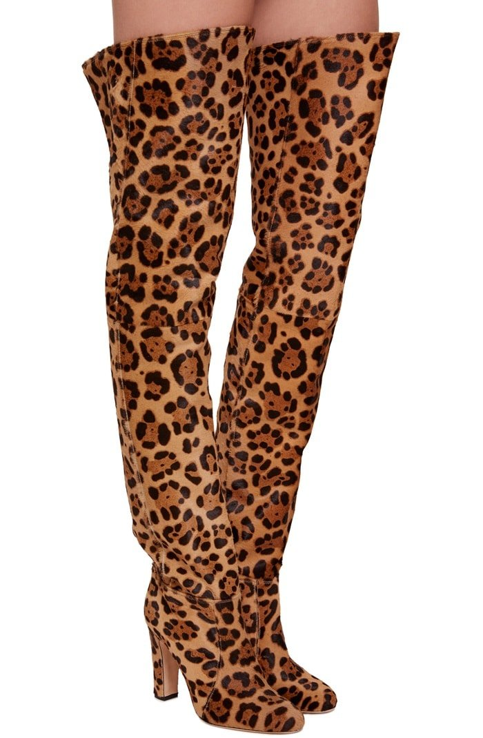 Knee-High 'Maxime' Leopard Boots