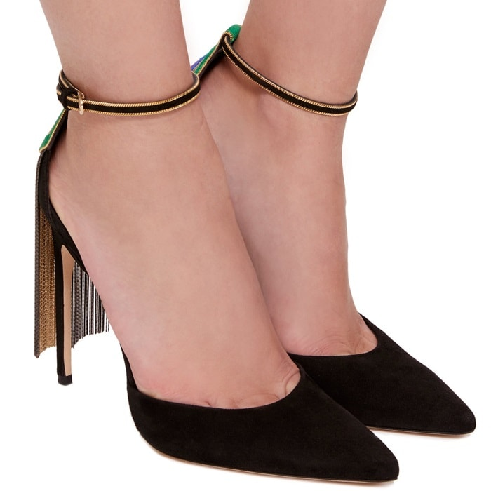 Black Kid Suede 'Sueli' Fringe Pumps