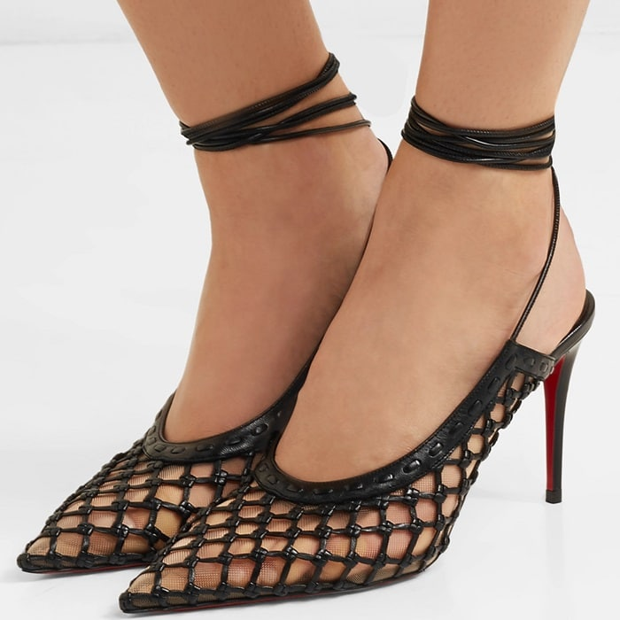 These pumps are finished with slender laces that elegantly wrap around the ankles