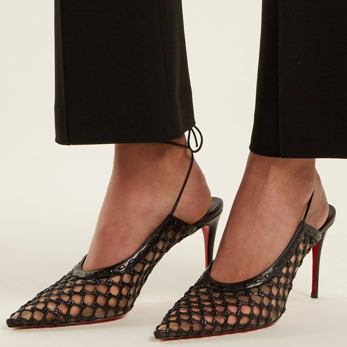 Black Cage and Curry Mesh & Woven Pumps