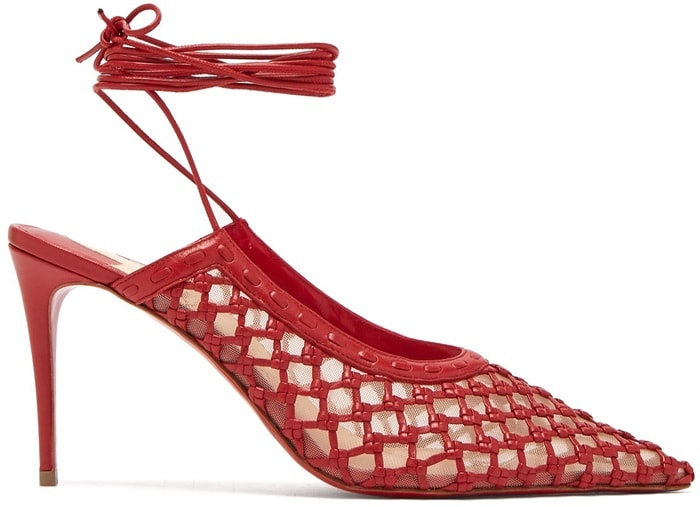 Featuring a cage-like latte leather upper crafted by hand using a traditional knot technique, this 85mm pointed-toe pump is reinforced by transparent mesh and finished with slender leather laces that wrap in elegant layers at the ankle