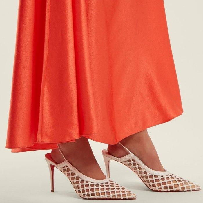 CHRISTIAN LOUBOUTIN X Roland Mouret Cage and Curry 85 leather pumps