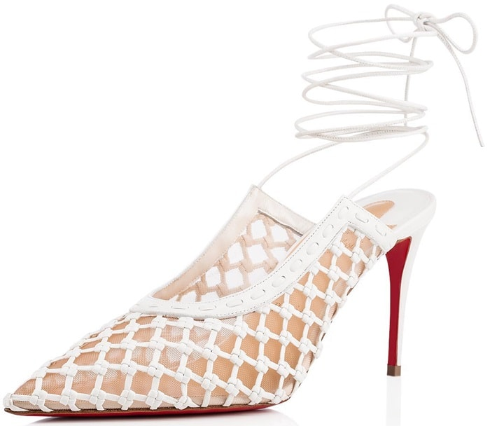 White Cage and Curry Mesh & Woven Pumps