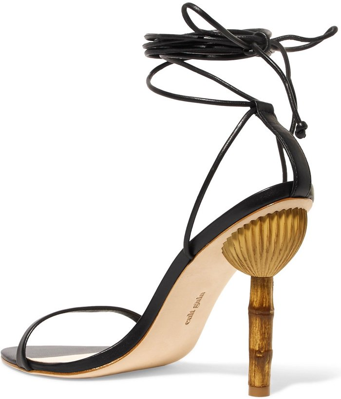 Cult Gaia's 'Luna' sandals are set on a bamboo-effect heel that mirrors the brand's best-selling 'Ark' bag