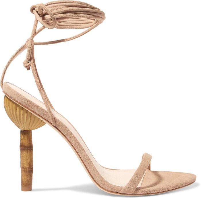 Made from plush suede, these sandals have a slim heel sculpted to resemble bamboo