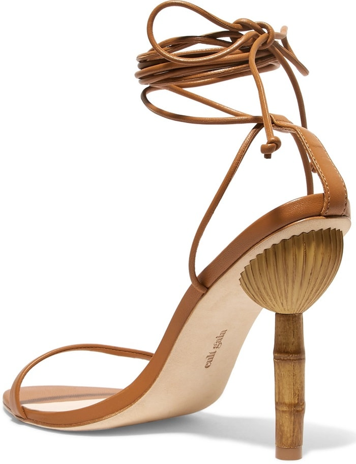 This 'Luna' pair is made from tan leather and has slender ties that fasten at your mid-calf