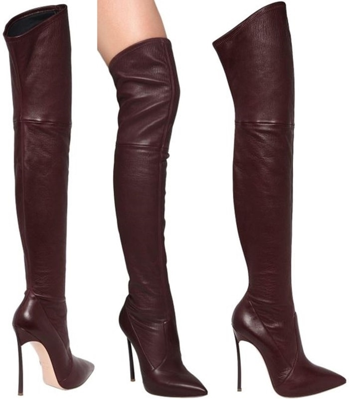 Casadei Red 120mm Blade Stretch Leather Boots