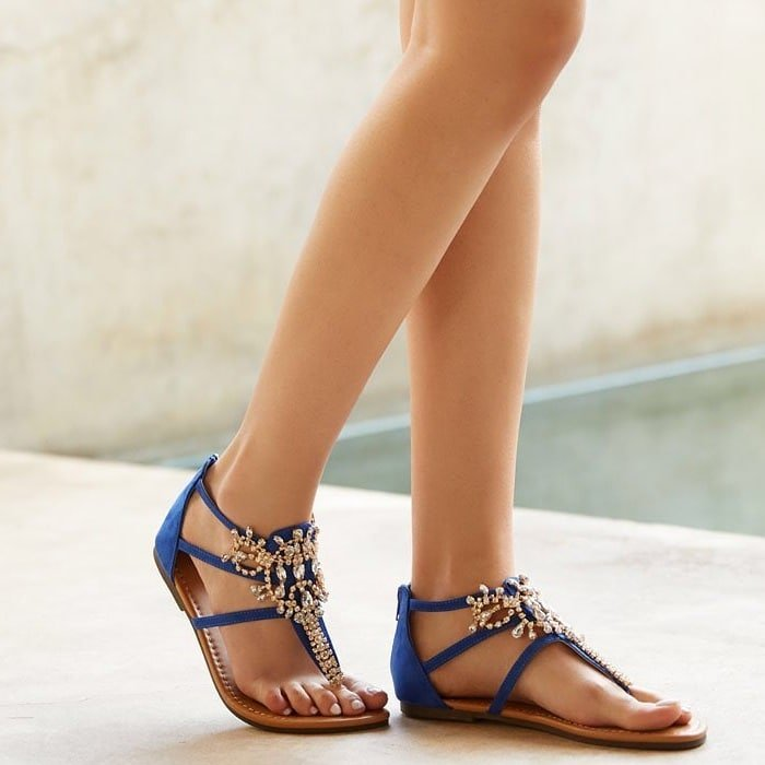 Jeweled Flat Caspar Sandal With Functional Back Zip