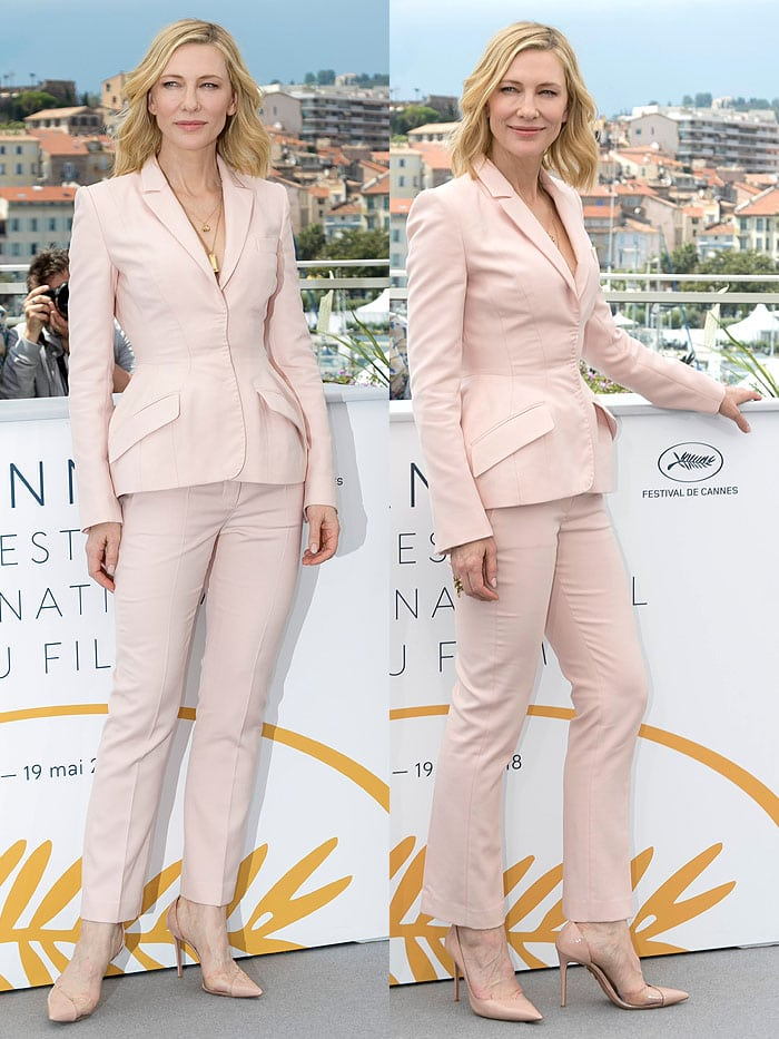 Cate Blanchett in a Stella McCartney pantsuit, Aquazzura 'Eclipse' pumps, and Andy Wolf sunglasses.
