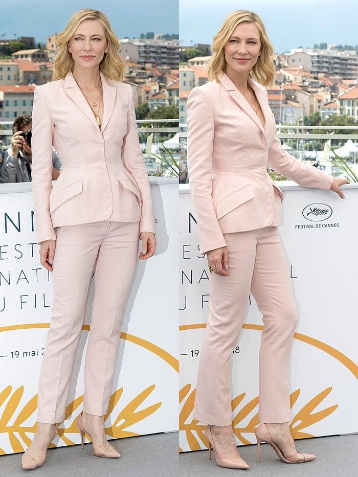 Cate Blanchett in a Stella McCartney pantsuit, Aquazzura 'Eclipse' pumps, and Andy Wolf sunglasses.