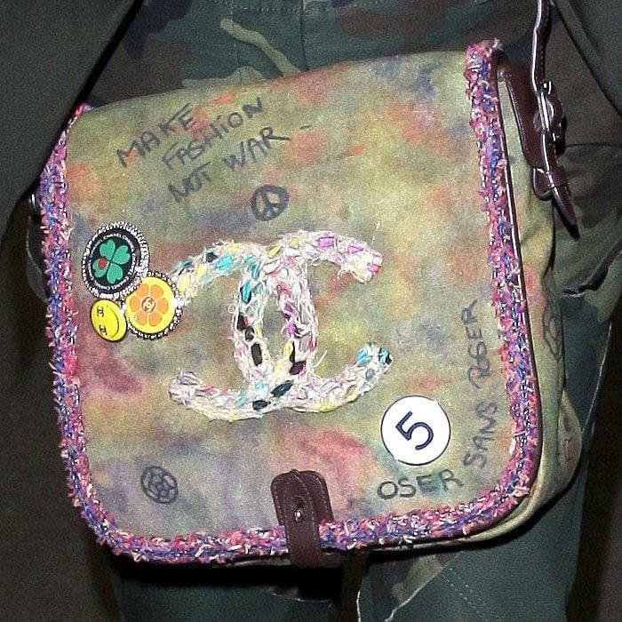 Catherine Zeta-Jones' Chanel 'On the Pavements' graffiti messenger bag.