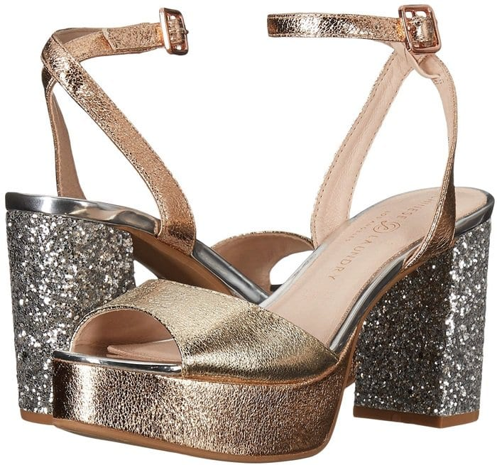 A shimmering glitter heel adds glam-rock flair to a showstopping platform sandal finished with a slender ankle strap.