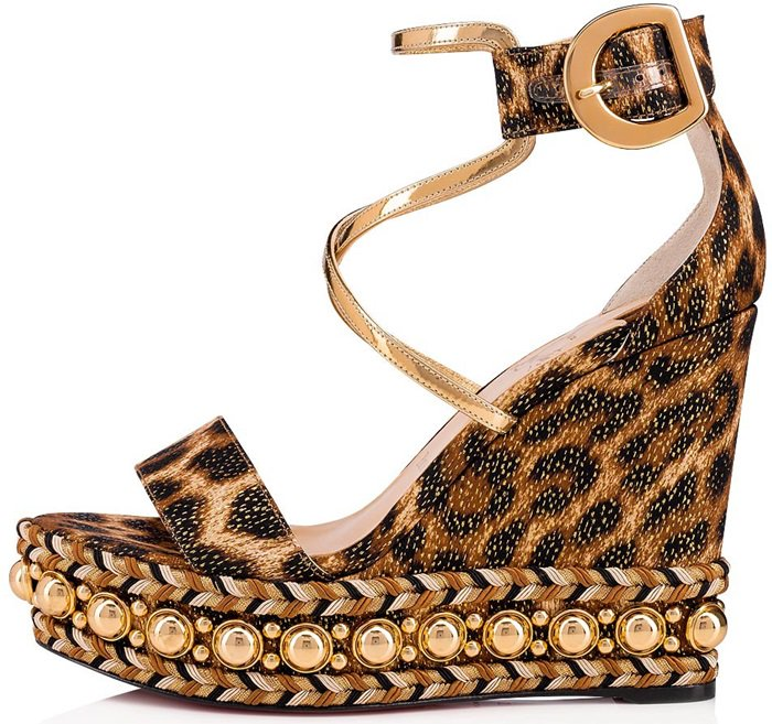 Chocazeppa Leopard Wedge Red Sole Espadrille Sandal