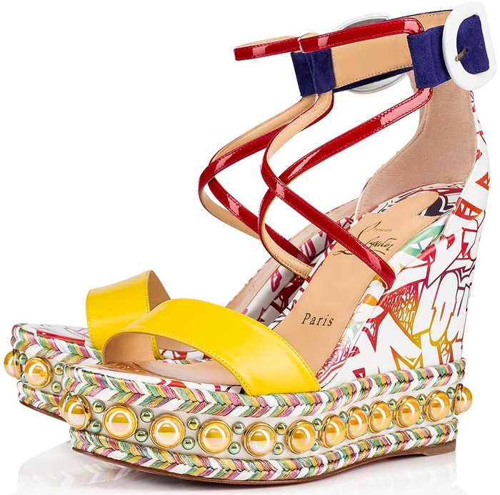In multi-colored silk screen-printed leather, it hugs the foot and the ankle with allure