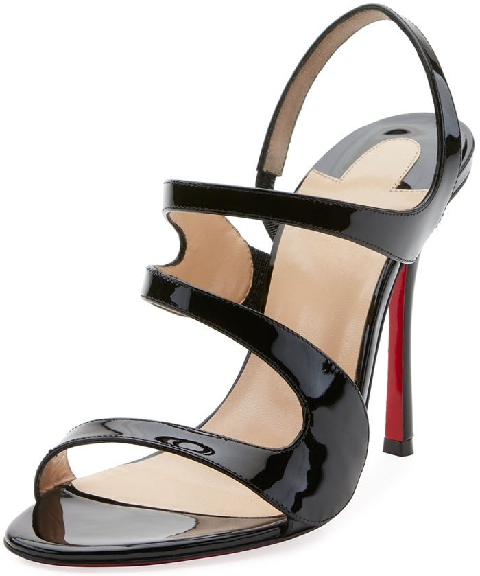 Black Leather Vavazou Asymmetric Sandals