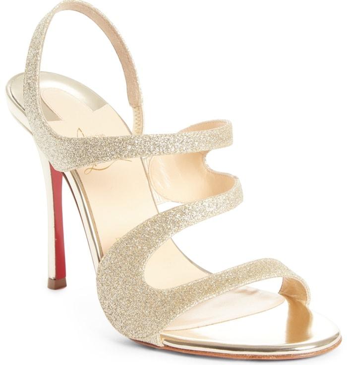 Glitter & Specchio Leather 'Vavazou' Asymmetric Sandals