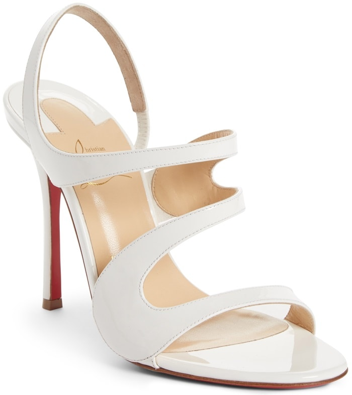 White Leather 'Vavazou' Asymmetric Sandals