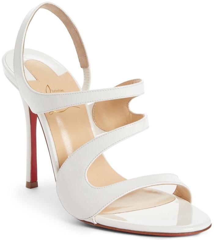 White Leather 'Vavazou' Asymmetric Sandals