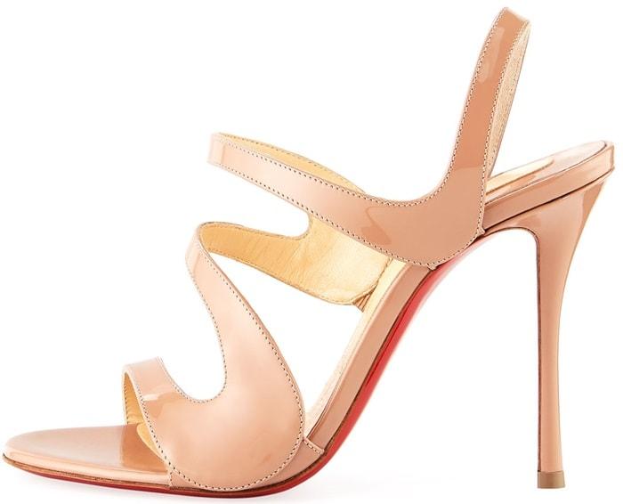 Nude Leather 'Vavazou' Asymmetric Sandals