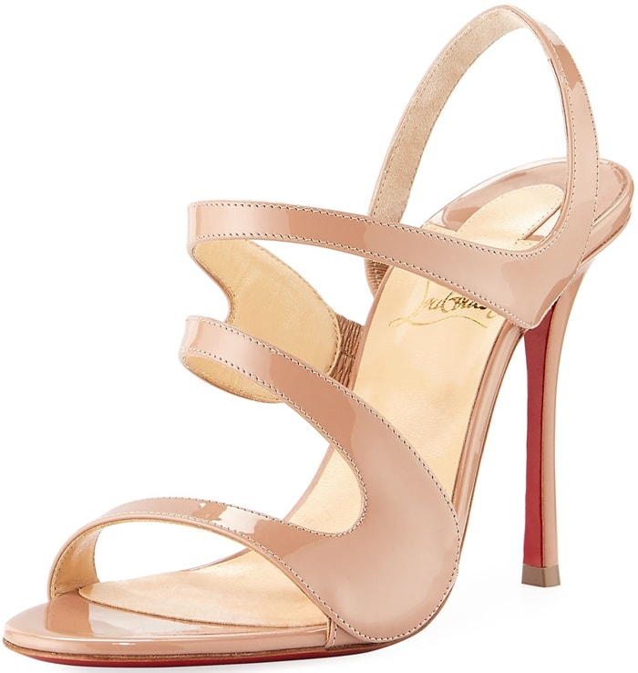 Nude Christian Louboutin patent leather sandal