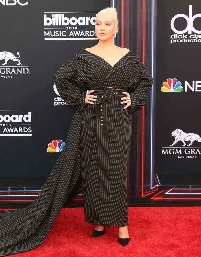 Christina Aguilera looked completely overwhelmed in a custom pinstripe 16Arlington jacket dress