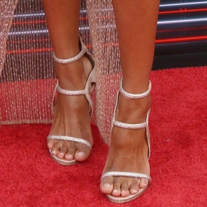 Ciara's feet in strappy Le Silla 'Award' sandals