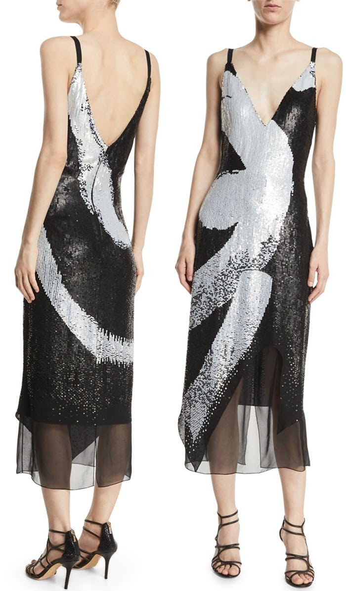 Graphic Brushstroke Embroidery Maxi Dress