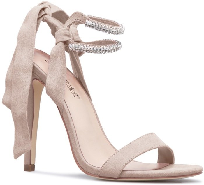 Nude Embellished Stiletto Sandals