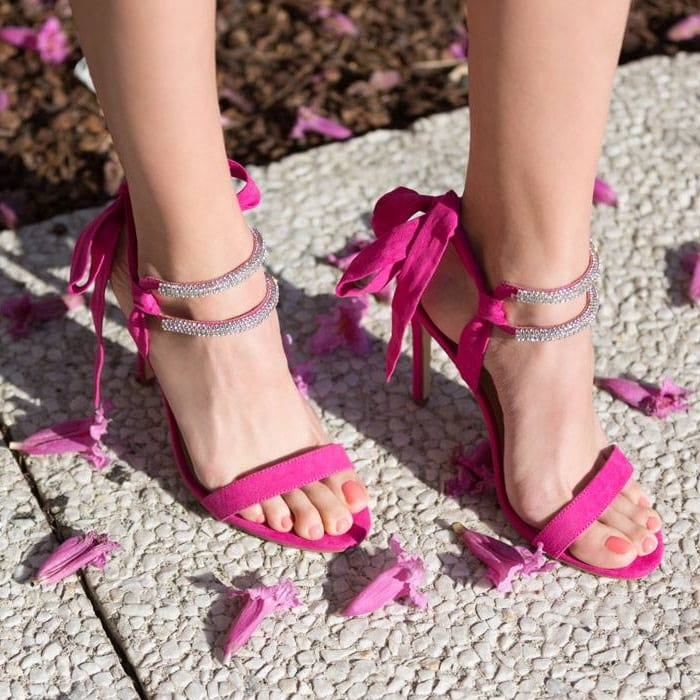 Pink Embellished Stiletto Sandals