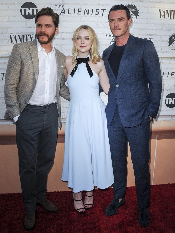 Luke Evans, Dakota Fanning, and Daniel Bruhl at the Emmy For Your Consideration Event for their TNT show 'The Alienist'