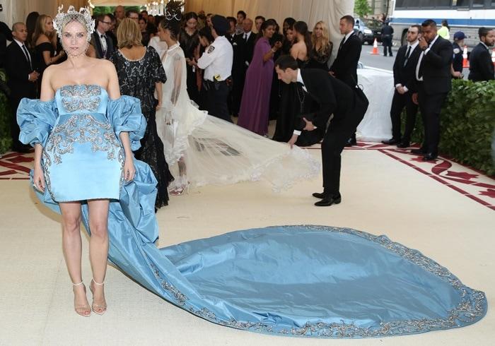 Diane Kruger donned a straplessblue satin Prabal Gurung dress