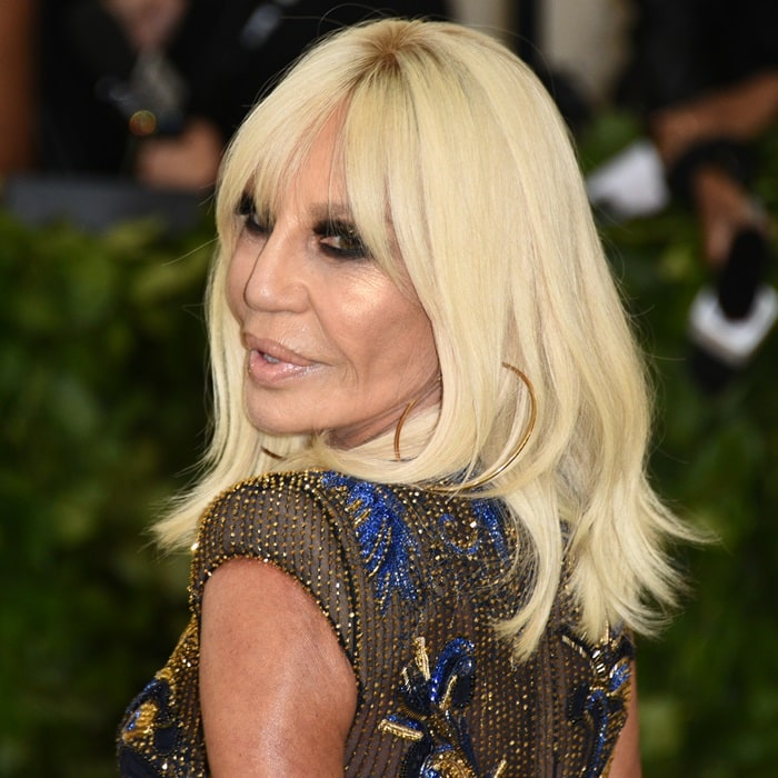 Donatella Versace at the 2018 Met Gala held at the Metropolitan Museum of Art in New York City on May 7, 2018