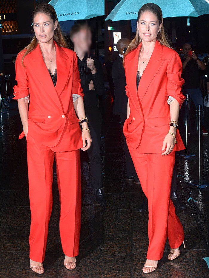 Doutzen Kroes in a red pantsuit from The Row at the Tiffany & Co. Paper Flowers event