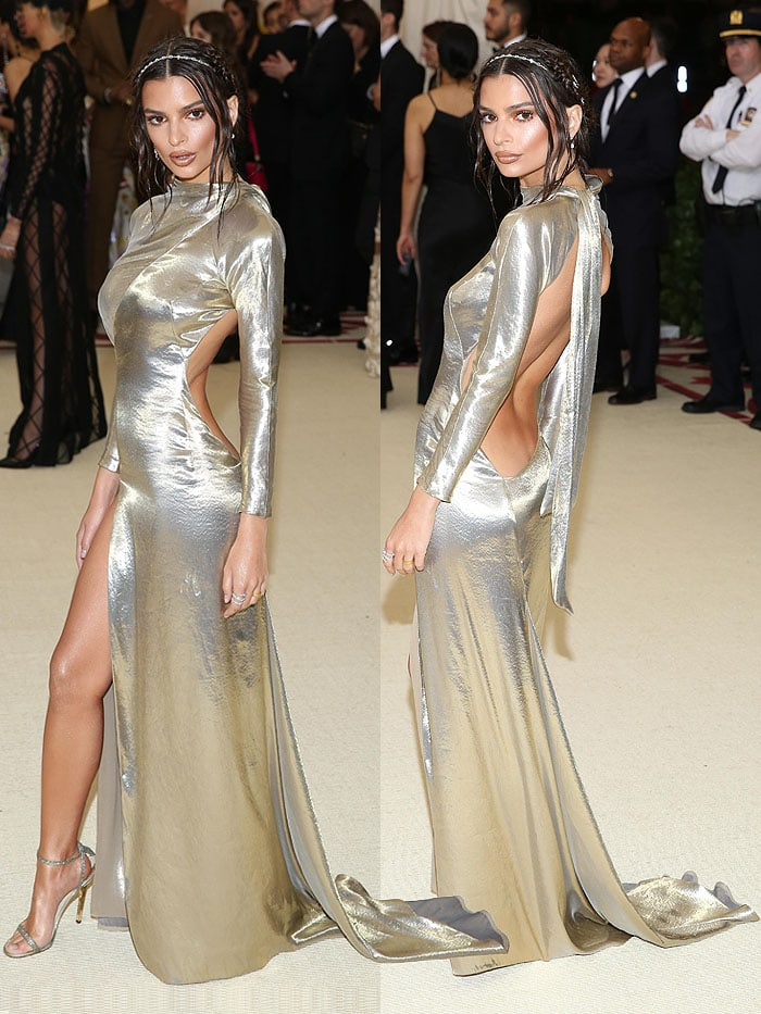 Emily Ratajkowski in a gold Marc Jacobs gown and glittery Jimmy Choo 'Minny' sandals.