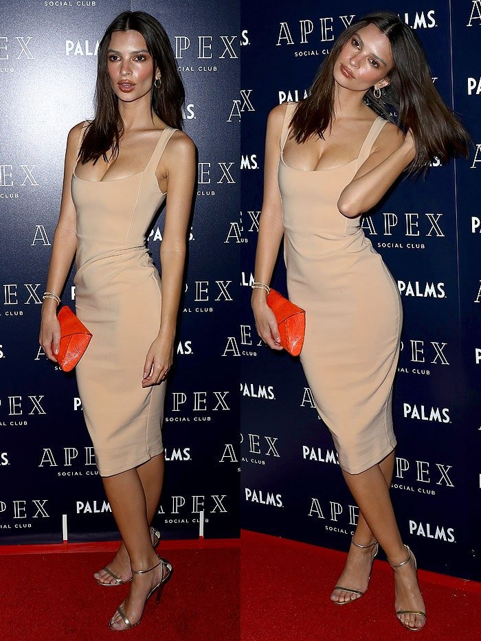 Emily Ratajkowski in a Nookie 'Glamour' nude dress and gold Jimmy Choo 'Minny' sandals.