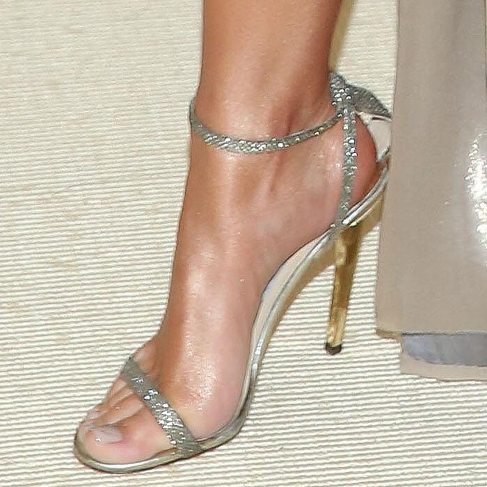 Emily Ratajkowski's Jimmy Choo 'Minny' sandals in glittery fabric.