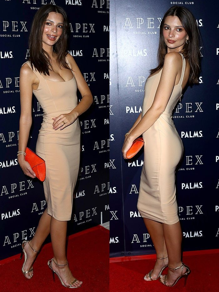 Emily Ratajkowski in a nude dress and gold Jimmy Choo 'Minny' sandals.